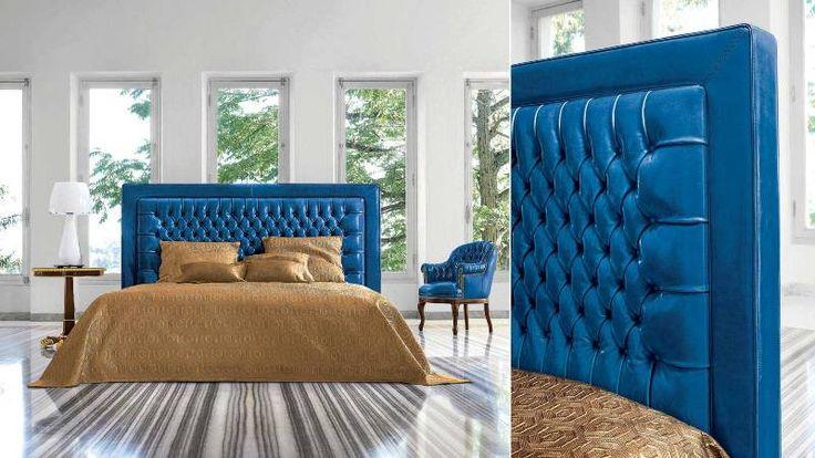 Синяя кровать  со стеганным изголовьем  Mascheroni Notte Italiana