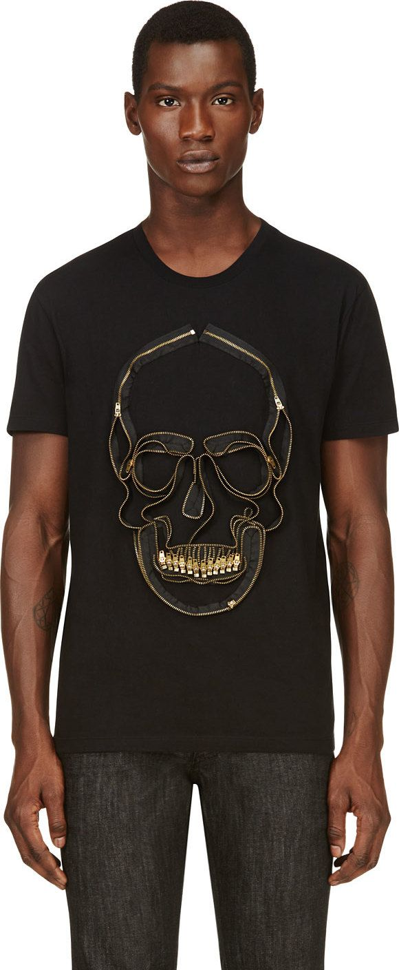 Alexander McQueen - Black Embroidered Zipper Skull T-Shirt
