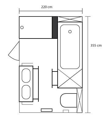 #floorplan for small #bathroom on 7m2