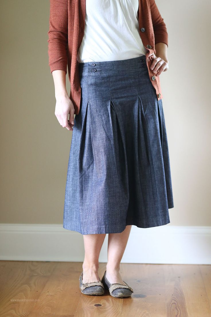 Vintage Adelaide Modest Denim Skirt | Calf Length Size 8-16