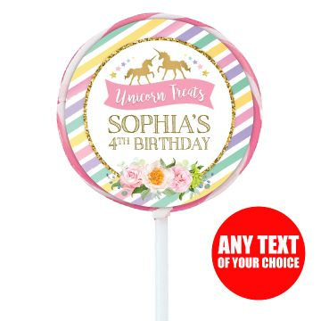 Unicorn Sparkle PERSONALIZED Large Lollipops - 12 Pk Party Supplies Canada - Open A Party