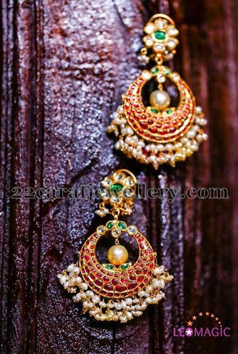 Jewellery Designs: Cabochon Rubies Chandbalis