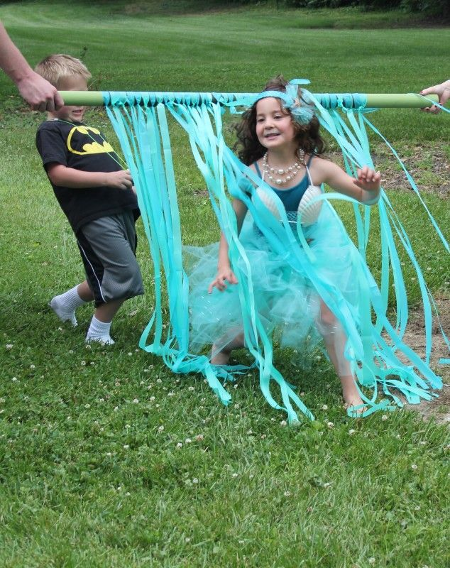kids games for a Mermaid themed birthday party.  The underwater themed games like - Go Fish, Walk the Plank and Underwater limbo. The easy Diy games for children.