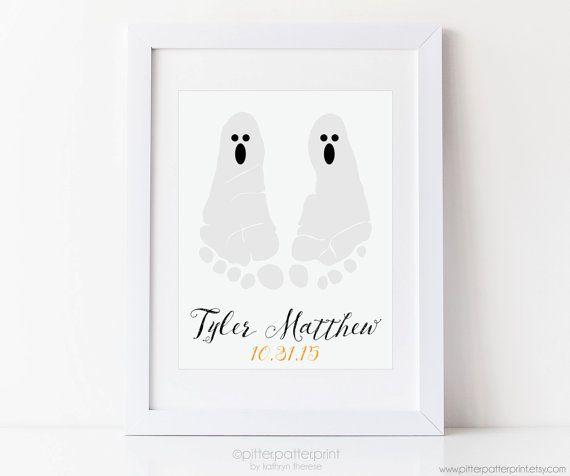 Halloween Baby Footprint Ghost Art Print by PitterPatterPrint