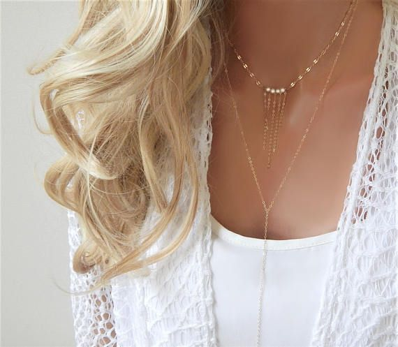Layering Necklace  Layered Long Lariat Fresh Water Pearls  Y