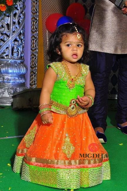 Orange Light Green Lehenga by Mugdha - Indian Dresses