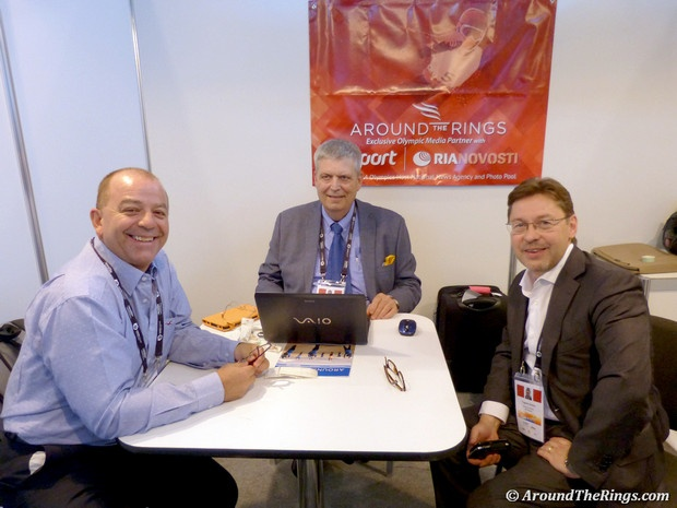 Francisco Campo of Cartan Tours, ATR editor Ed Hula, Dmitry Tugarin of RIA Novosti. #SportAccord #Conference #SAC2013 #SportAccordConvenion #Olympics #Sports #AroundTheRings #Russia