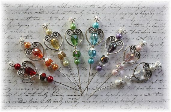 Heart of the Rainbow Stick pins for Scrapbooking,Cardmaking, Mini Album, Tag Art