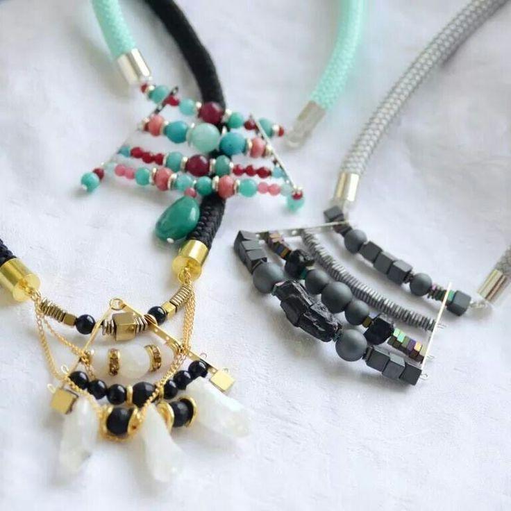 Statement necklaces with semi precious stones by ursha. www.facebook.com/urshastylenow