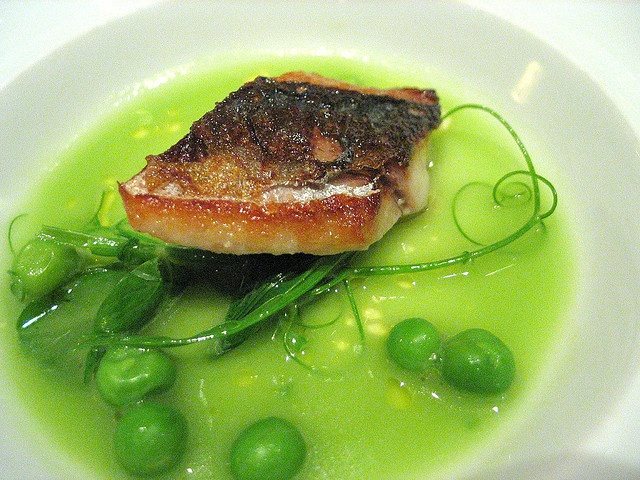 Grilled fish in a broth of english peas, with pea shoots. Manresa ...