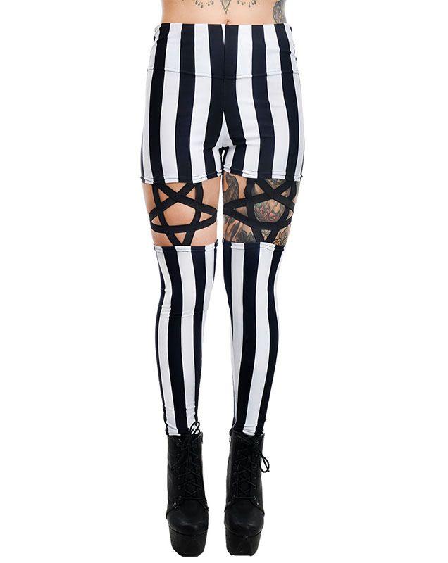 83dac9b52 Black   White Stripe High Waist Pentagram Garter Leggings by Rat Baby Too  Fast Clothing
