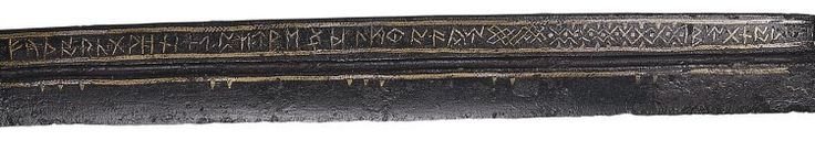 """via @rory_naismith """"Runic alphabet (along with the name of the owner, Beagnoth) inscribed on a long knife found in the Thames in 1857 - now in @britishmuseum"""""""