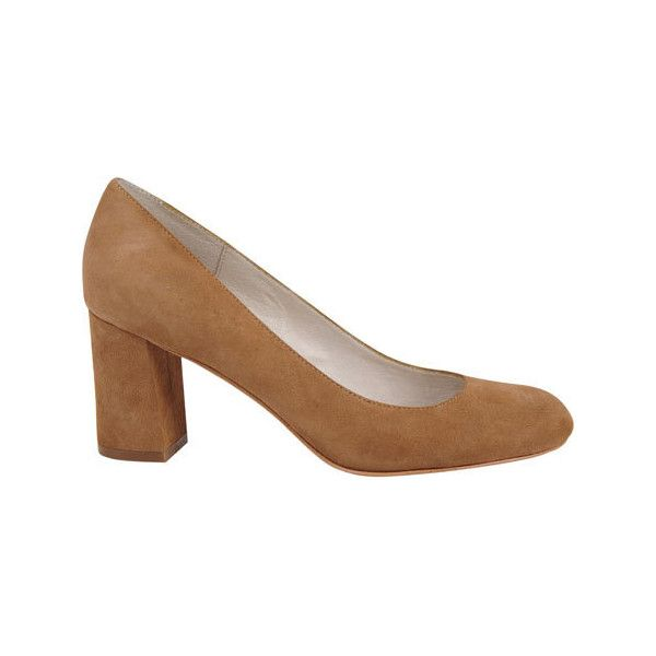 Women's Bettye Muller Colette Pump - Camel Suede Casual ($110) ❤ liked on Polyvore featuring shoes, pumps, brown, casual, casual footwear, camel pumps, wide heel pumps, round cap, thick heel shoes and suede shoes