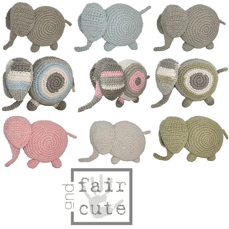 Gebreide knuffel olifant van Fair and Cute, verkrijgbaar in 9 verschillende kleuren! http://aukgaaf.com/nl/trends4kids-brocante-babykamer-landelijke-kinderkamer-complete-babykamers.html?brand=107