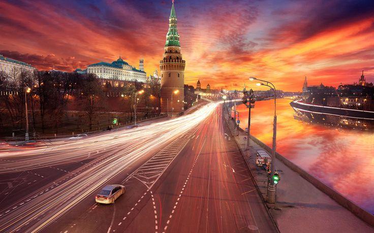 закат, кремль, обработка, москва