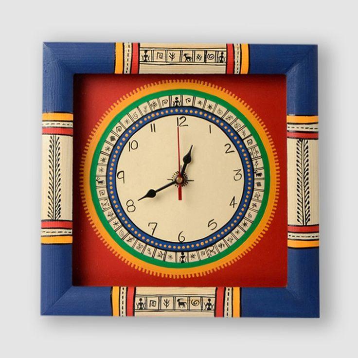 Warli Handpainted Clock 10*10 Inch Red | #simple #Clocks&Timepieces #Decor #simple, #Clocks&Timepieces, #Decor,