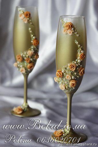 Свадебные аксессуары ручной работы, Шампанское на свадьбу, декор бокалов. Бокалы свадебные (Свадьбы)