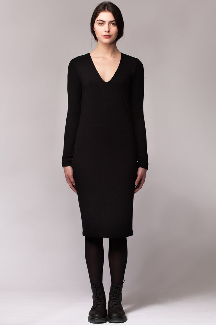 Cheyenne Dress by Valerie Dumaine. A simple classic black vneck dress in bamboo rib.  Made in Montreal, Canada.