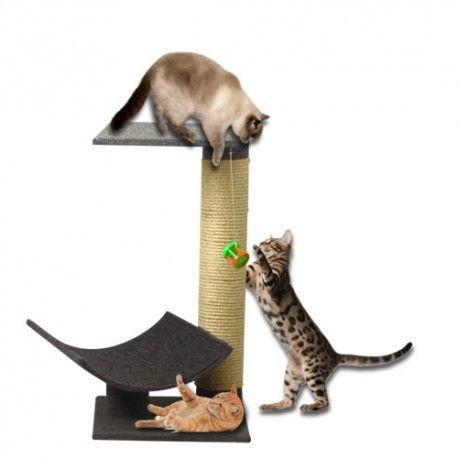 Gimnasio para gatos, consta de: 1-Canoa de 30x22 cm para juego,  y cama 1- Poste de 60 cm de alto x 8 cm de diámetro forrado en lazo de fique de 5mm para rascado 1 Plataformas 30 x30 cm  en MDF de 9mm tapizadas en alfombra red ASTRA para salto y descanso 1-Base de 30x30  cm en MDF de 9mm tapizadas en alfombra red ASTRA para salto y descanso Dimensiones generales 30 x 30 x 61.8  cm