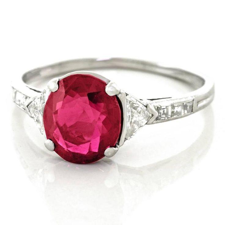 Tiffany & Co. Art Deco No-Heat Mogok Burma Ruby & Diamond Platinum Ring