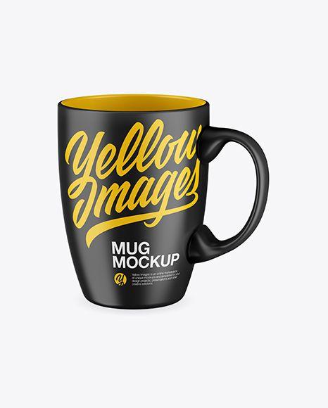 Matte Mug Mockup - Half Side View (High Angle Shot)