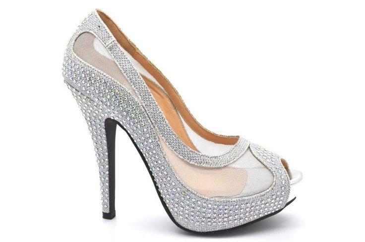 High Heel Platform Peep Toe Evening Diamante Sandal with Net Material and Decorative Heel.