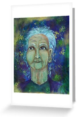 Auntie Ebb greeting cards ~ http://www.redbubble.com/people/elizafayle/works/13682796-auntie-ebb?p=greeting-card #woman #old #elderly #wise #crone