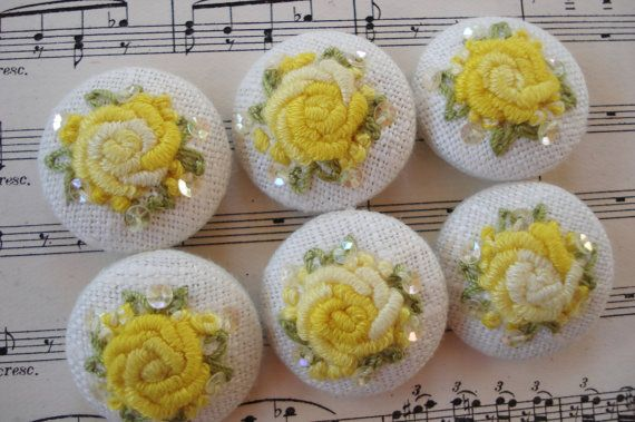 6 Ombre Sunny Yellows Handmade Embroidered MOP Buttons Vintage Doll Dress Purse Collage Sewing Dress Trim Handbag Purse
