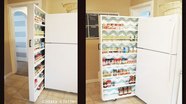 Pantry that fits between the fridge and the wall. Great use of a normally wasted space!