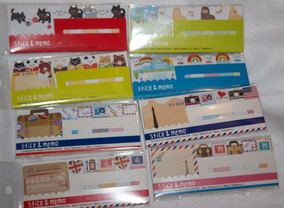 Sticky Notes - Post It notes - Page Markers - Memo Paper - Memo Notes - Page Flags - Travel sticky notes - Animal sticky notes