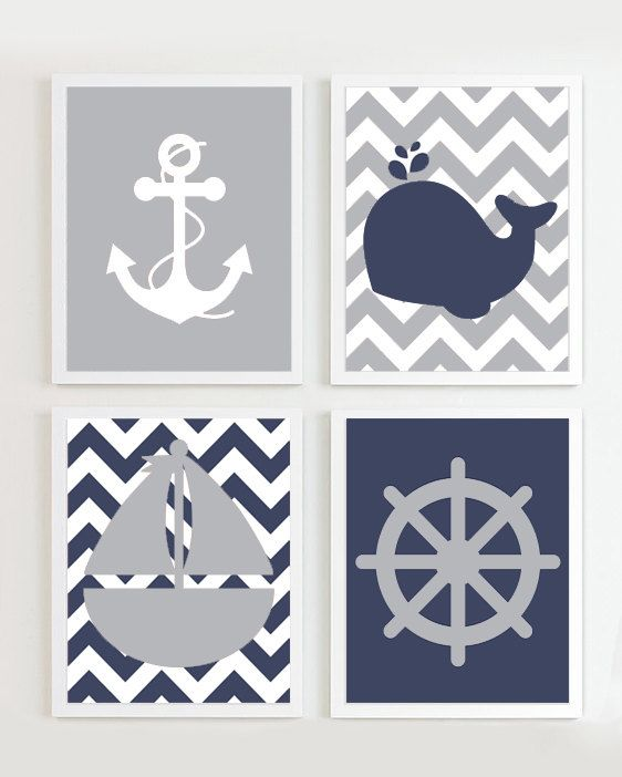 Nautical Prints - Navy Grey set of 4 - Beach Ocean Sea more colors available