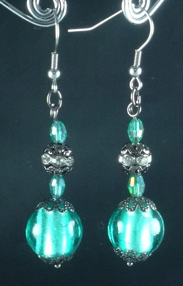 Boucles d'oreille cristal vert