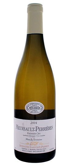 2004 Meursault 1er Cru, Perrieres, Darviot-Perrin  This wine is wound tight and needs time in the glass. The age of the vines shows in the depth of concentration. It's raised in very cold cellars and you get that sense of precision that is best seen in Perrieres. $110