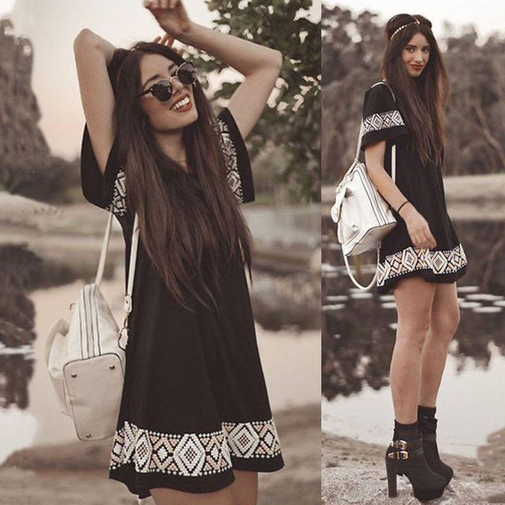 Boho Chic Black With White Crochet Detailing Bohemian Fashion Hippie Style - Hippie BLiss