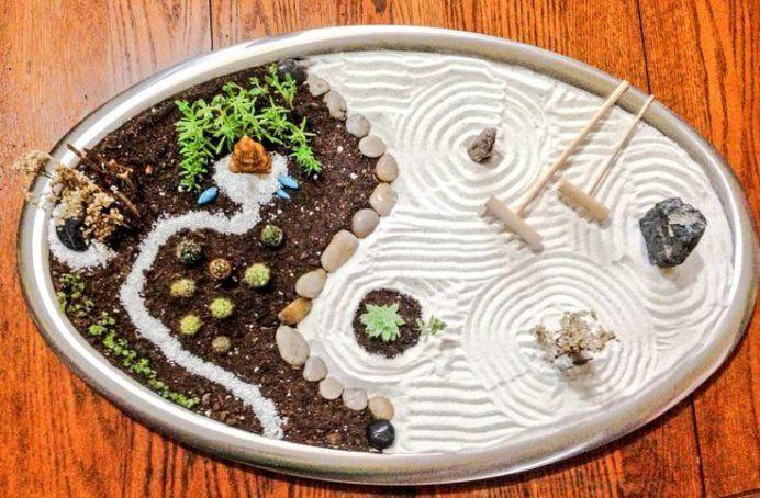 miniature zen garden with sand