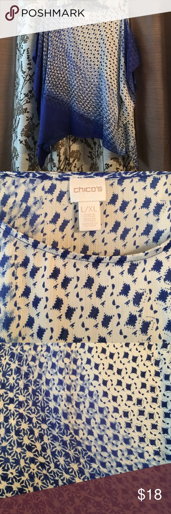 Chicos ombré batwing top Blue and white Chinos brand batwing style flows top. Very flattering and cool for hot summer days. Chico's Tops Tunics