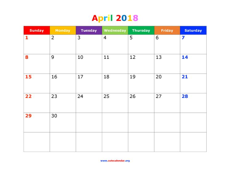 Download cute template for april 2018 calendar with US federal holidays, space for notes in PNG.