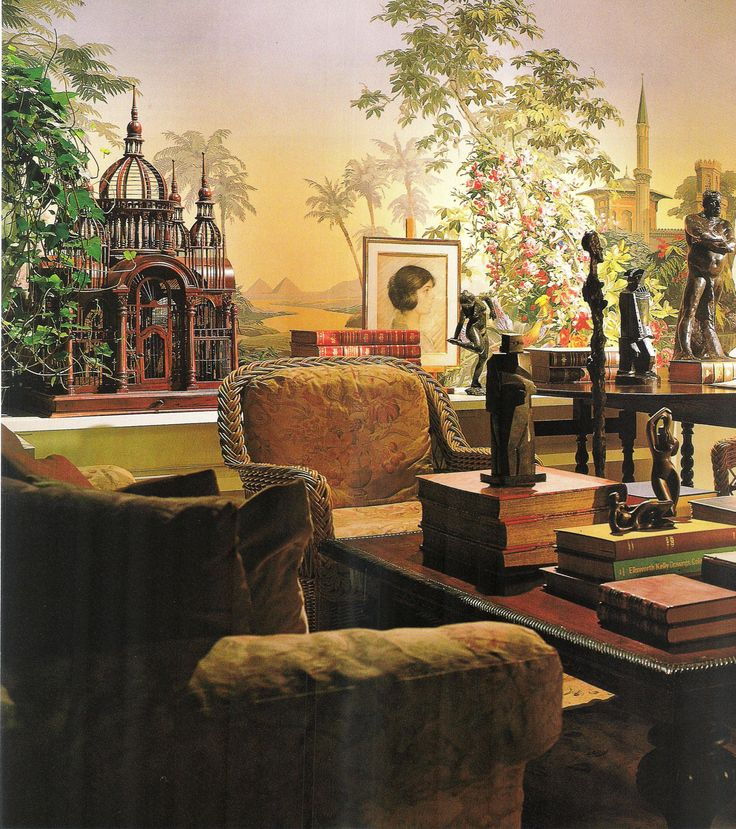 """""""Designers Robert Bray and Michael Schaible juxtaposed a real landscape of fine objects with an imaginary landscape by Zuber. The panoramic wallpaper ['Eldorado'], designed in 1848, stretches 50 feet, from the dining area to the living room."""" Photo: Scott Frances. Architectural Digest (November 1998)."""