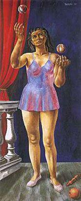 Malabarista, 1938, óleo s/arpillera, 190 x 80,5 cm. Col. privada