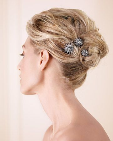 Vintage brooches as hair ornaments