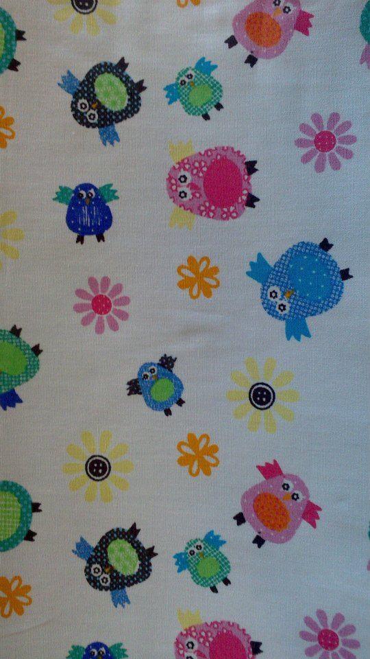 Multi-coloured Owls - 100% Cotton