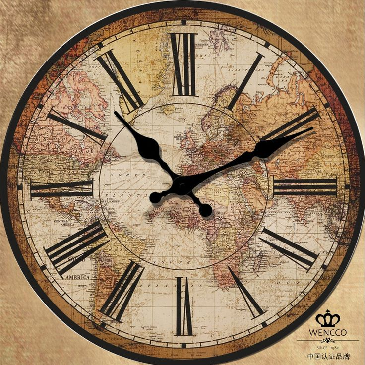 87 best clocks images on pinterest wall clocks clocks and vintage retro world map style round art wood wall clock home decor large new day gumiabroncs Image collections