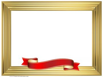 Gold frame with a red and gold ribbon