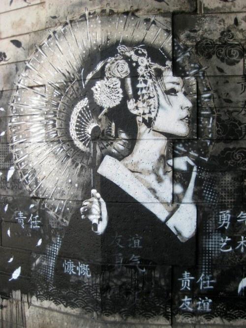 geisha: Findac, Street Artists, Japan, Geishas, Urbanart, Urban Art, Fin Worthy, Streetart, Graffiti Art