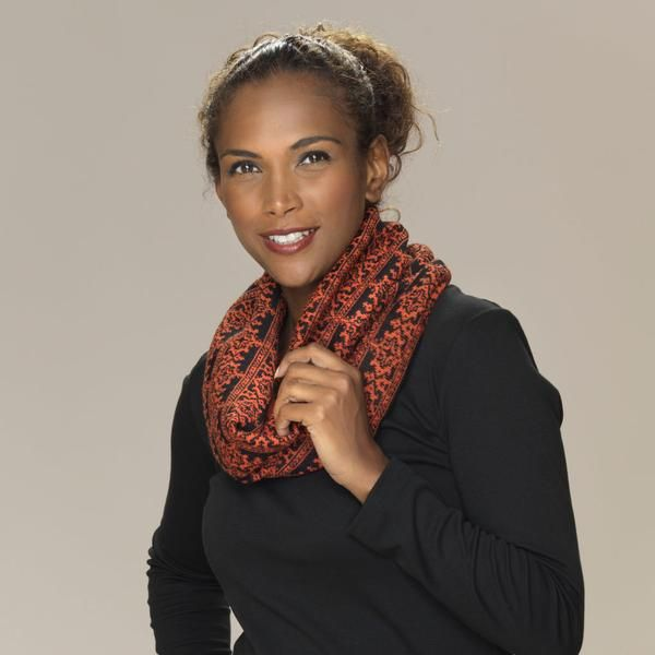 Rosa baby alpaca double faced jacquard pattern snood titian gold orange