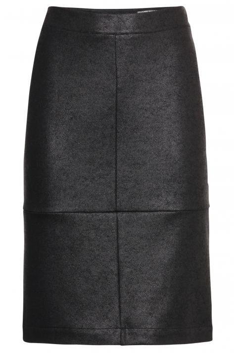 Vergroot - Zwarte kokkerok met lederlook