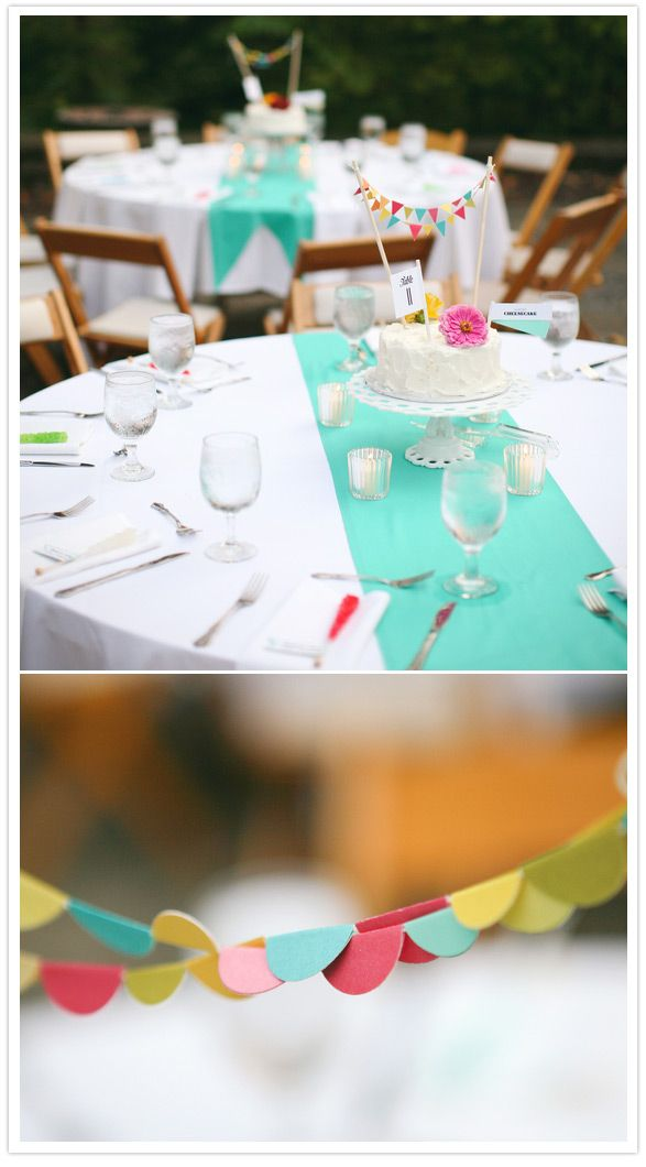 cakes as centerpieces ... Bright colour pops and each table has their own cake to cut-- the coolest idea ever--