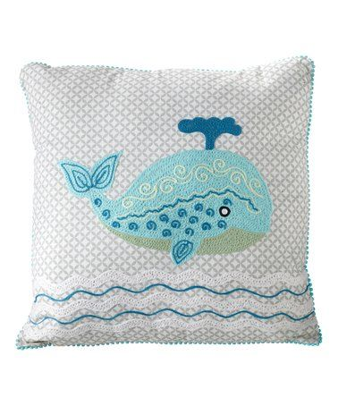 Look at this #zulilyfind! Embroidered Whale Pillow #zulilyfinds