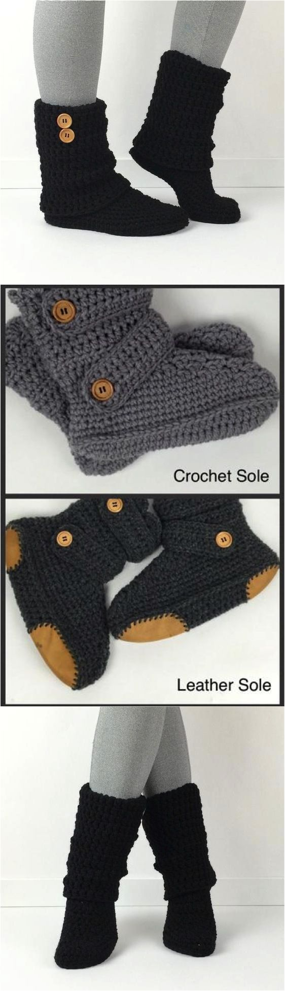 Best 25 slipper boots ideas on pinterest crochet slipper boots womens crochet black slouchy slipper boots these booties are so amazingly comfortable youll never want to take them off great for wearing around the bankloansurffo Image collections