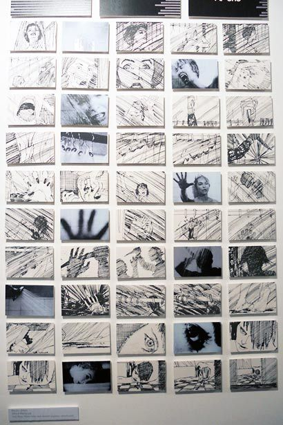 """Storyboard drawings from the shower sequence in  Alfred Hitchcock's """"Psycho"""" (1960) matched with actual stills from the movie."""